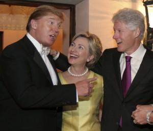Donald Trump, Hillary Clinton and Bill Clinton